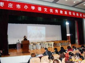 台儿庄区运河街道西关小学参加市优秀教案推进会并作典型发言(图)