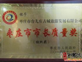 """台儿庄古城旅游发展有限公司荣获""""枣庄市市长质量管理奖""""(图)"""