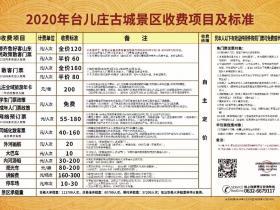 2020年台儿庄古城景区收费项目及标准